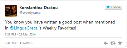 Weekly Favorites by Lingua Greca, English-Greek translations