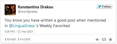 Weekly Favorites by Lingua Greca, English-Greek translations